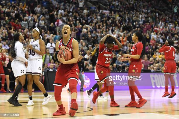 Asia Durr of the Louisville Cardinals reacts after a missed shot to win the semifinal game of the 2018 NCAA Photos via Getty Images Division I...