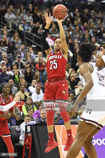 Asia Durr of the Louisville Cardinals shoots the ball against the Mississippi State Lady Bulldogs during the semifinal game of the 2018 NCAA Photos...
