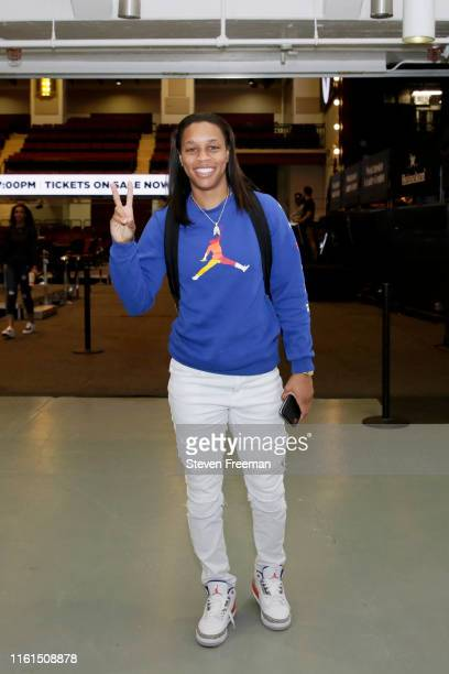Asia Durr of the New York Liberty arrives at the arena before the game against the Minnesota Lynx on August 13 2019 at the Westchester County Center...