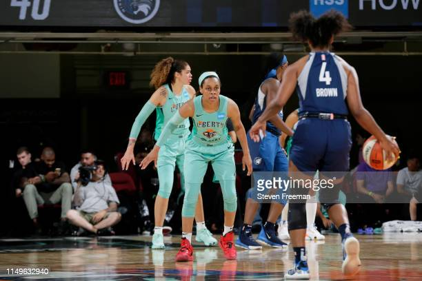 Asia Durr of the New York Liberty defends Lexie Brown of the Minnesota Lynx on May 8 2019 at the Westchester County Center in White Plains New York...