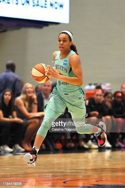 Asia Durr of the New York Liberty dribbles the ball during the game against the Las Vegas Aces on JULY 7 2019 at the Westchester County Center in...