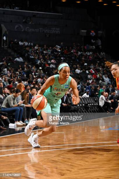 Asia Durr of the New York Liberty drives to the basket against the China National Team on May 9 2019 at the Barclays Center in Brooklyn New York NOTE...