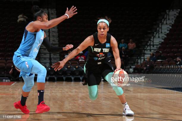 Asia Durr of the New York Liberty drives to the basket against the Atlanta Dream on May 14 2019 at the Mohegan Sun Arena in Uncasville Connecticut...