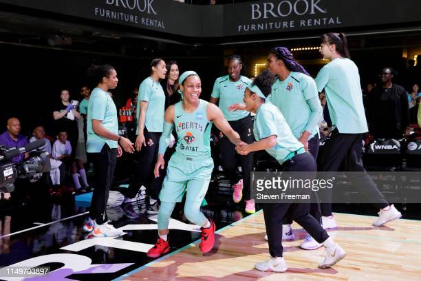 Asia Durr of the New York Liberty enters the court before the game against the Minnesota Lynx on May 8 2019 at the Westchester County Center in White...