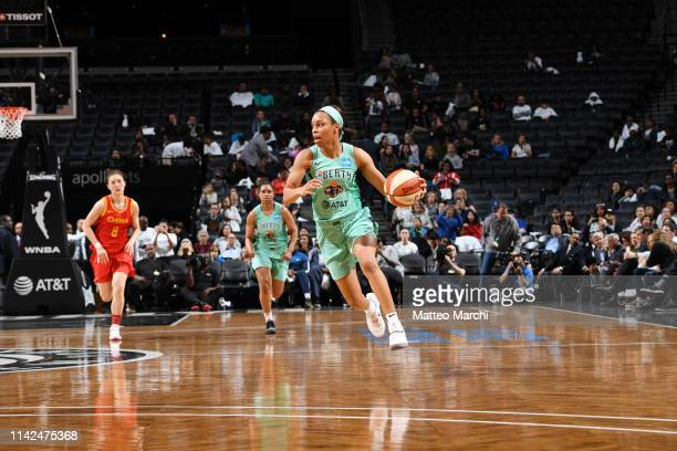 Asia Durr of the New York Liberty handles the ball against the China National Team on May 9 2019 at the Barclays Center in Brooklyn New York NOTE TO...