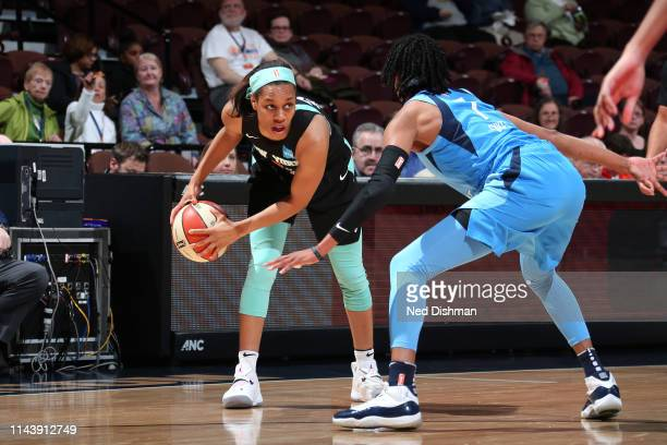 Asia Durr of the New York Liberty handles the ball against the Atlanta Dream on May 14 2019 at the Mohegan Sun Arena in Uncasville Connecticut NOTE...