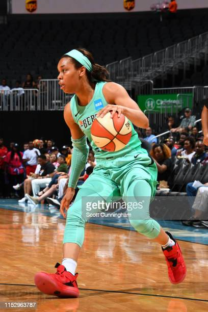 Asia Durr of the New York Liberty handles the ball against the Atlanta Dream on June 30 2019 at the State Farm Arena in Atlanta Georgia NOTE TO USER...