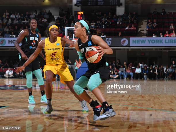 Asia Durr of the New York Liberty handles the ball against the Indiana Fever on May 24 2019 at the Westchester County Center in White Plains New York...