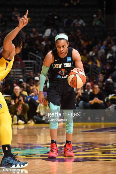 Asia Durr of the New York Liberty handles the ball against the Los Angeles Sparks on June 15 2019 at the Staples Center in Los Angeles California...