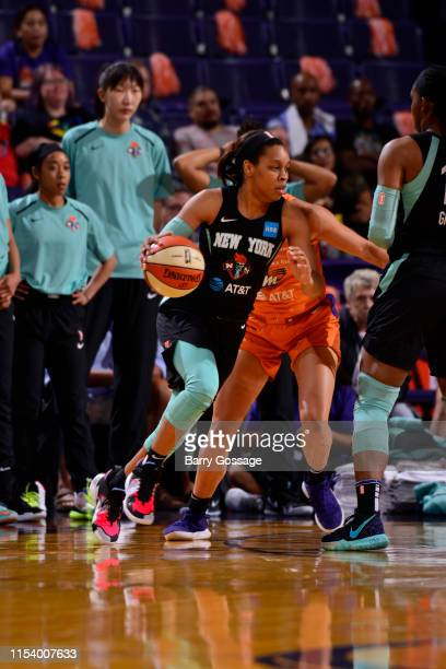Asia Durr of the New York Liberty handles the ball against the Phoenix Mercury on July 5 2019 at Talking Stick Resort Arena in Phoenix Arizona NOTE...