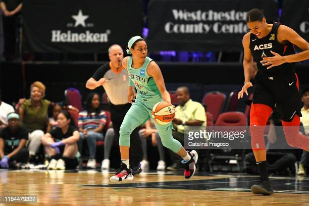 Asia Durr of the New York Liberty handles the ball during the game against Liz Cambage of the Las Vegas Aces on JULY 7 2019 at the Westchester County...