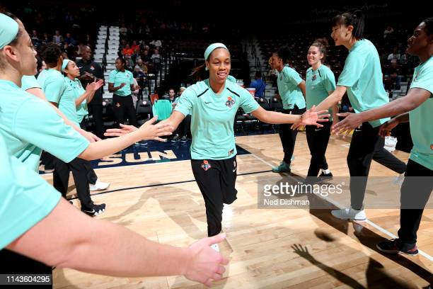 Asia Durr of The New York Liberty is introduced prior to a game against the Connecticut Sun on May 13 2019 at the Mohegan Sun Arena in Uncasville...
