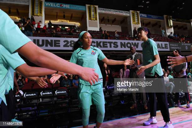 Asia Durr of the New York Liberty is introduced prior to a game against the Los Angeles Sparks on June 4 2019 at the Westchester County Center in...