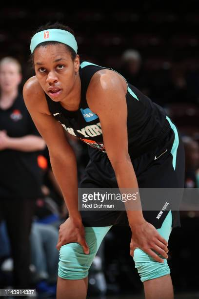 Asia Durr of the New York Liberty looks on during the game against the Atlanta Dream on May 14 2019 at the Mohegan Sun Arena in Uncasville...