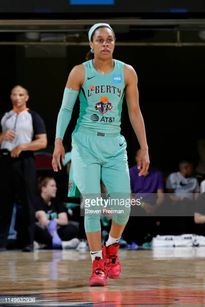 Asia Durr of the New York Liberty looks on during the game against the Minnesota Lynx on May 8 2019 at the Westchester County Center in White Plains...