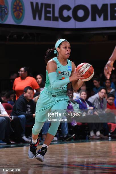 Asia Durr of the New York Liberty looks to pass against the Los Angeles Sparks on June 4 2019 at the Westchester County Center in White Plains New...