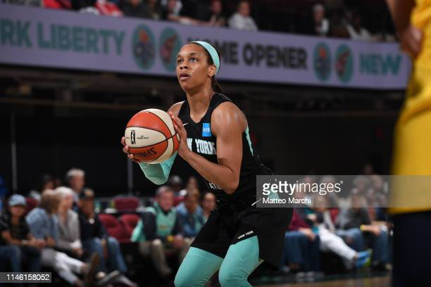 Asia Durr of the New York Liberty shoots a free throw during the game against the Indiana Fever on May 24 2019 at the Westchester County Center in...