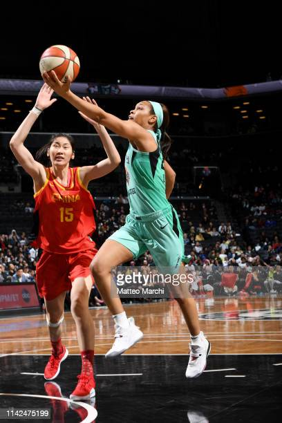 Asia Durr of the New York Liberty shoots the ball against the China National Team on May 9 2019 at the Barclays Center in Brooklyn New York NOTE TO...