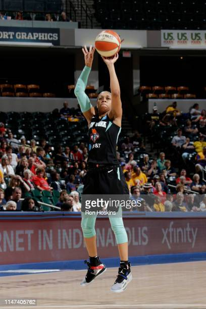 Asia Durr of the New York Liberty shoots the ball against the Indiana Fever on June 1 2019 at the Bankers Life Fieldhouse in Indianapolis Indiana...