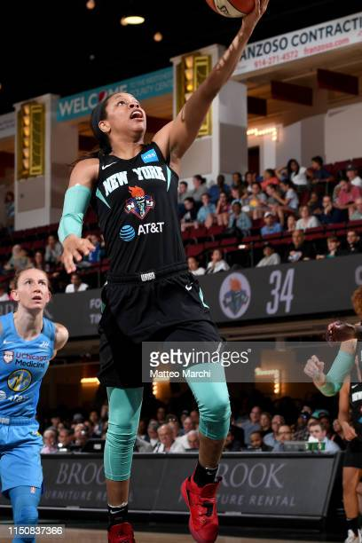 Asia Durr of the New York Liberty shoots the ball during the game against the Chicago Sky on May 8 2019 at the Westchester County Center in White...