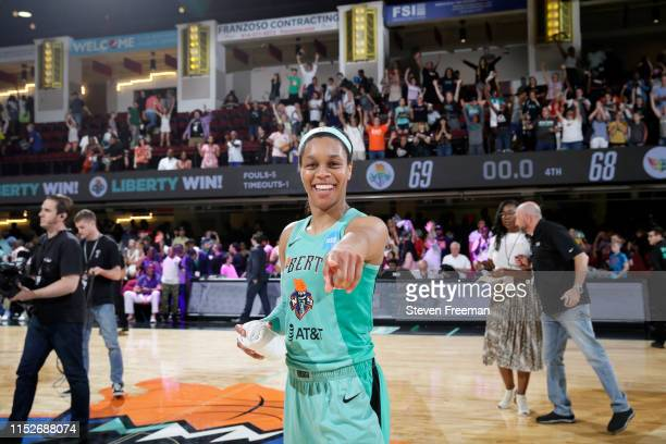 Asia Durr of the New York Liberty smiles after a game against the Dallas Wings on June 28 2019 at the Westchester County Center in White Plains New...