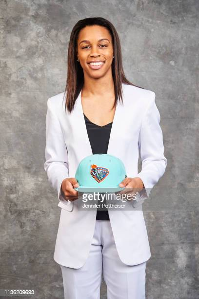 Asia Durr poses for a portrait after being selected number two overall by the New York Liberty during the WNBA Draft on April 10 2019 in New York New...