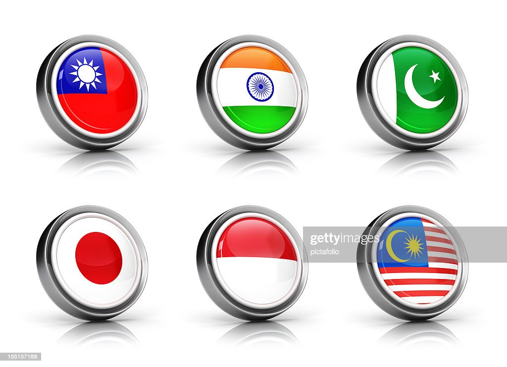 Asia Flags icon set : Stock Photo