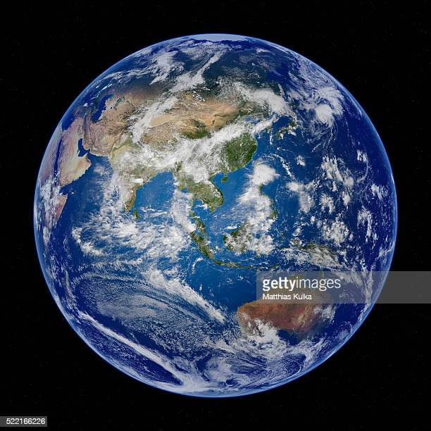 asia, full earth view from space - planet earth stock pictures, royalty-free photos & images