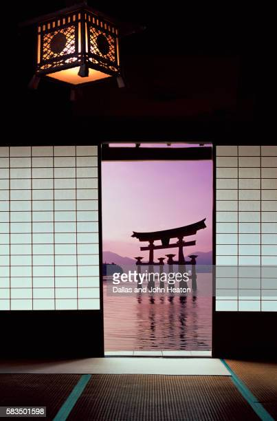 Asia, Japan, Hiroshima, Miyajima, View from Traditional House towards Torii Gate
