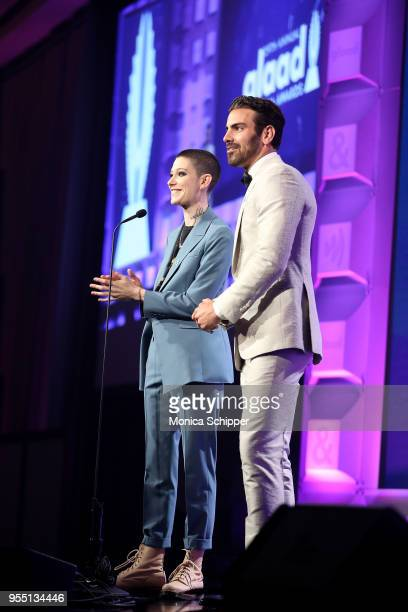 Asia Kate Dillon and Nyle DiMarco speak on stage at the 29th Annual GLAAD Media Awards in partnership with longstanding LGBTQ ally KetelOne...
