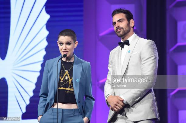 Asia Kate Dillon and Nyle DiMarco speak onstage at the 29th Annual GLAAD Media Awards at The Hilton Midtown on May 5 2018 in New York City