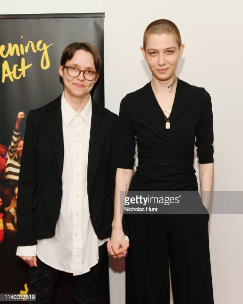 Asia Kate Dillon and partner Corinne attend In Their Own Words the 13th Annual Play Reading for Opening Act at New World Stages on April 02 2019 in...