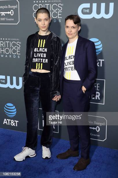Asia Kate Dillon and partner Corinne attend The 24th Annual Critics' Choice Awards at Barker Hangar on January 13 2019 in Santa Monica California