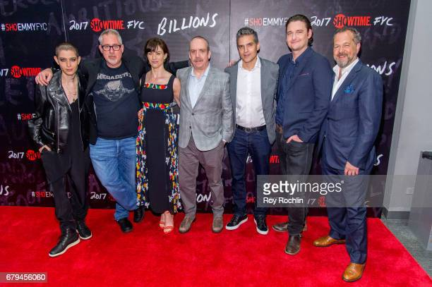 Asia Kate Dillon Brian Koppelman Maggie Siff Paul Giamatti David Levien Toby Leonard Moore and David Costabile attend Showtime's Billions For Your...