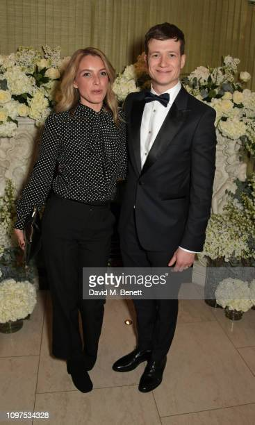 Asia Macey and Ed Speleers attend the British Vogue and Tiffany Co Celebrate Fashion and Film Party at Annabel's on February 10 2019 in London England