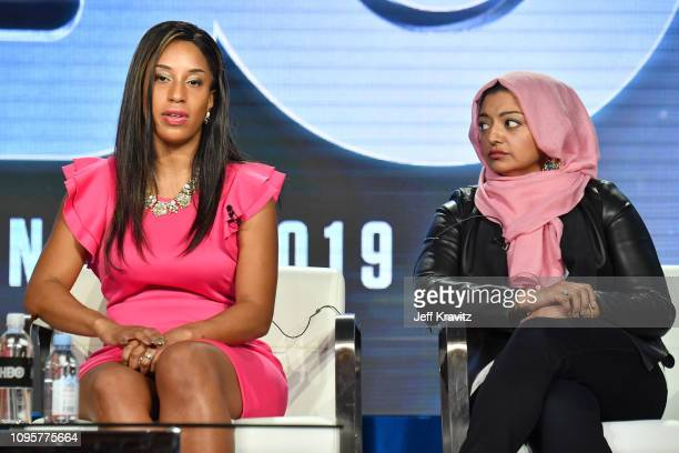 Asia McClain and Rabia Chaudhry participate in The Case of Adnan Syed panel of the HBO portion of the 2019 Winter TCA on February 8 2019 in Pasadena...