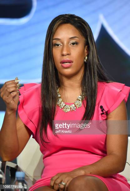 Asia McClain speaks onstage during The Case of Adnan Syed panel of the HBO portion of the 2019 Winter TCA on February 8 2019 in Pasadena California