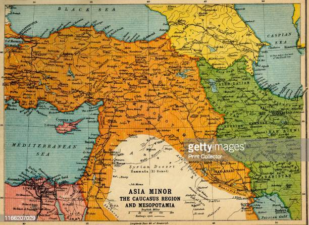 Asia Minor, the Caucasus Region and Mesopotamia', First World War, circa 1915, . Map of part of the Middle East, showing eastern Turkey, Cyprus,...