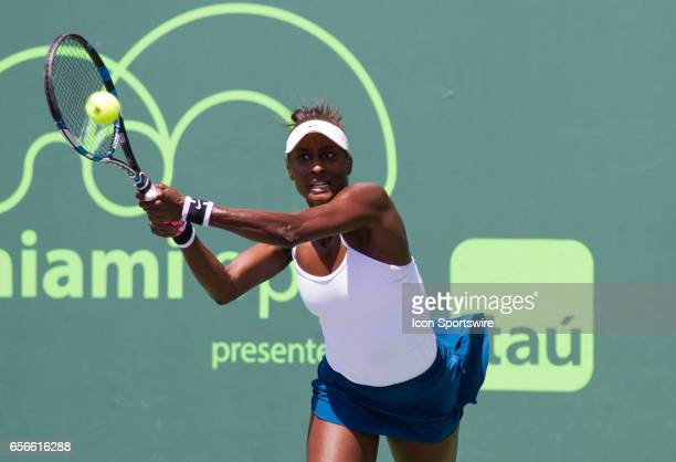 Asia Muhammad during the qualifying round of the 2017 Miami Open on March 20 at Tennis Center at Crandon Park in Key Biscayne, FL.