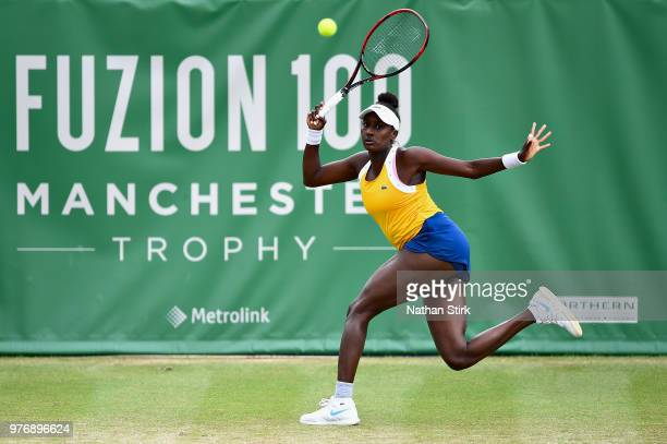 Asia Muhammad of USA in action in the Womens Doubles Final during Finals Day of the Fuzion 100 Manchester Trophy at The Northern Lawn Tennis Club on...