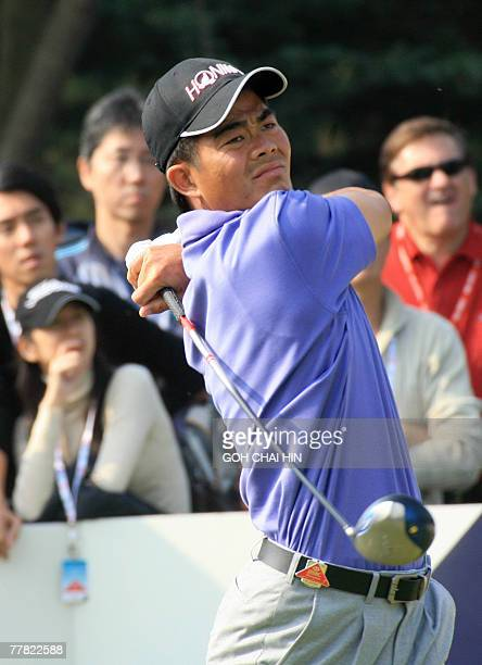 Asia number one Liang Wenchong of China tees off during the second day of the fivemillion USD HSBC Champions tournament in Shanghai 09 November 2007...