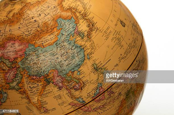 asia pacific on globe - china east asia stock pictures, royalty-free photos & images