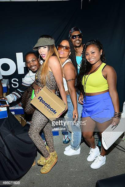 Asia Sparks and friends visit the Reebok booth during The 7th Annual Roots Picnic at Festival Pier at Penn's Landing on May 31 2014 in Philadelphia...