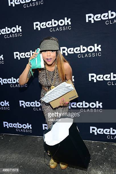 Asia Sparks visits the Reebok booth during The 7th Annual Roots Picnic at Festival Pier at Penn's Landing on May 31 2014 in Philadelphia Pennsylvania