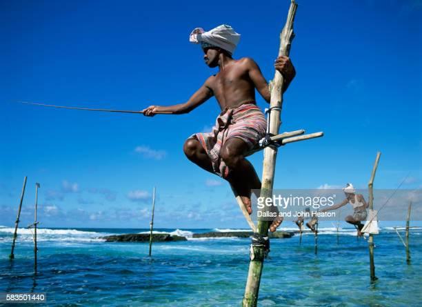 asia, sri lanka, weligama, stilt fishermen - sri lanka stock pictures, royalty-free photos & images