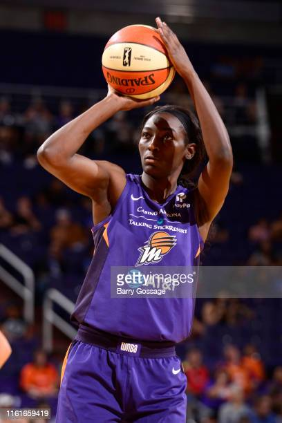Asia Taylor of the Phoenix Mercury shoots a free throw against the Connecticut Sun on August 14 2019 at Talking Stick Resort Arena in Phoenix Arizona...
