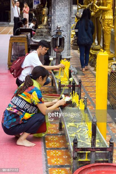 Asia Thailand Chiang Mai Wat Phra That Doi Suthep temple people praying
