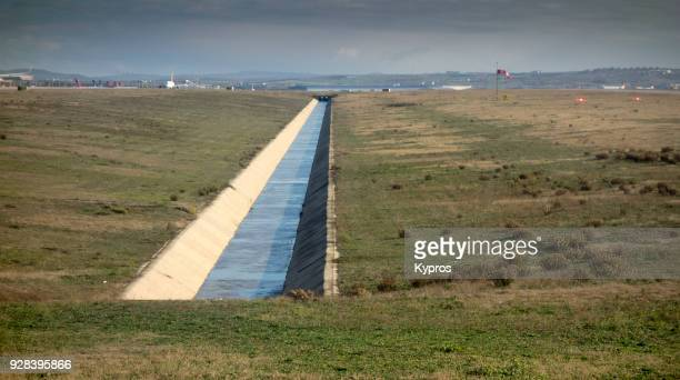 asia, turkey, istanbul area, 2018: view of airport - drainage ditch near runway - ditch stock photos and pictures