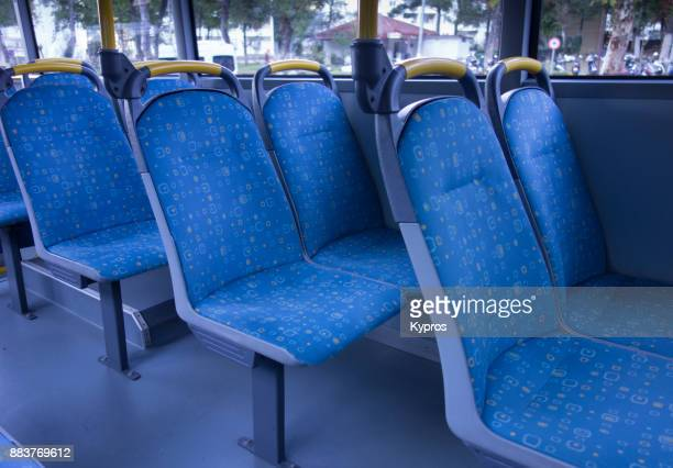 asia, turkey, marmaris area, 2017: view of bus interior seating - seat stock pictures, royalty-free photos & images