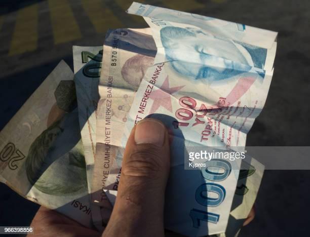 asia, turkey, marmaris area, 2017: view of turkish lira banknotes - turkish lira stock pictures, royalty-free photos & images